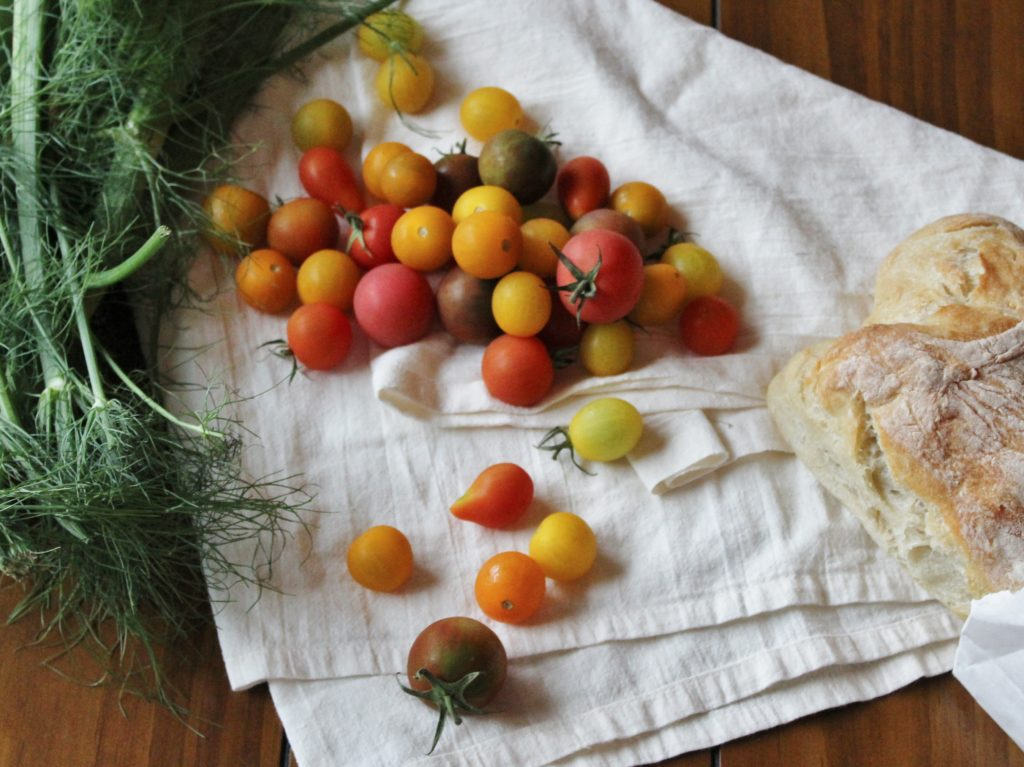 Heirloom Tomato Salad with Grilled Garlic Bread